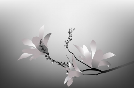 Flower branch with flowers and buds in black and white on a gray background