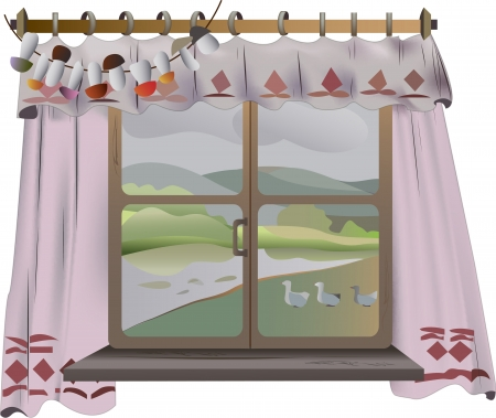 View from the window with the curtains rural landscape on white background Vector