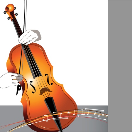 double bass: Abstract cello and musician on white and gray background with musical signs