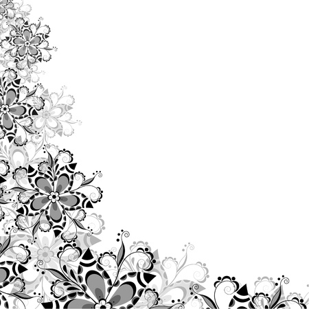 Floral pattern of abstract flowers in shades of gray on a white background Illustration