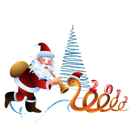 Santa Claus and the snake on a white background with  Christmas tree Vector