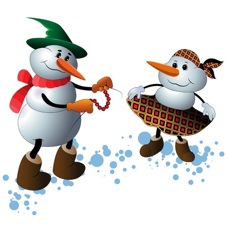 Cute Christmas Character Snowmen in Winter Scene Vector