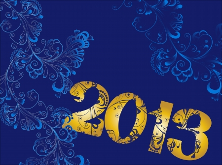 Abstract Christmas blue background with floral ornaments and decorative fonts 2013 Vector