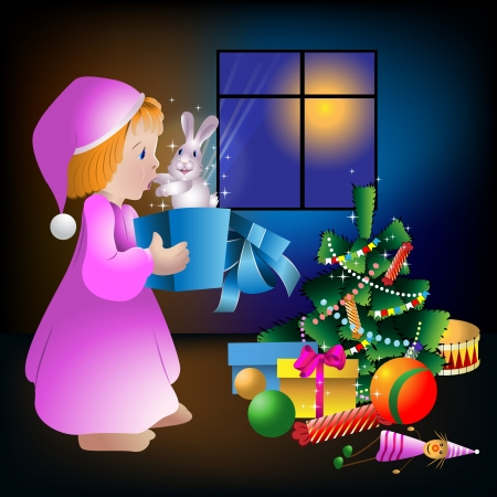 Little girl with Christmas gifts and a rabbit in a Christmas tree in the night window Vector