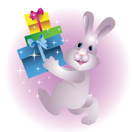 Christmas rabbit with gifts on a light purple background Stock Vector - 16675163
