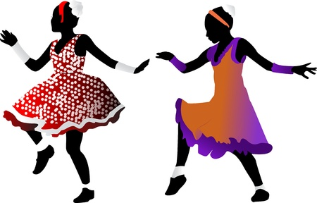Silhouettes of dancing young girls on a transparent background Vector