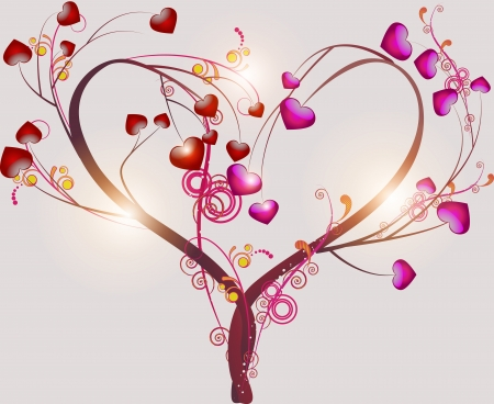 Abstract tree symbolizing love with abstract leaves in the form of heart on a light background Vector