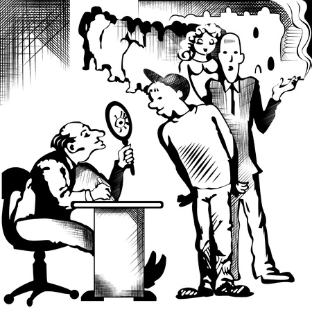 new job: drawing of recruitment to work in black and white