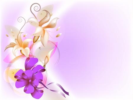 Delicate bloemen achtergrond met lelie en strik Stock Illustratie