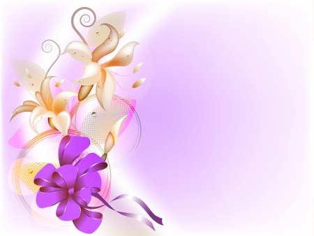 bowknot: Delicate floral background with lily and bowknot