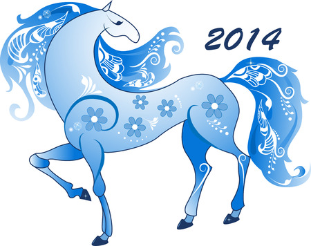 Abstract horse in blue tones on a transparent background, the symbol of 2014  Vector