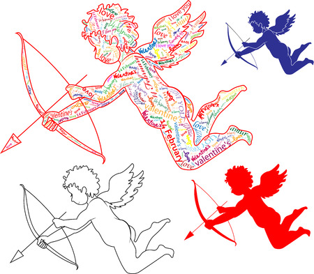 In Valentine's Day Cupid in graphic style Vector
