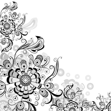 Floral abstract pattern in shades of gray on a transparent background Vector