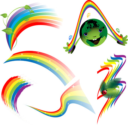 Rainbow set of decorative elements Vector
