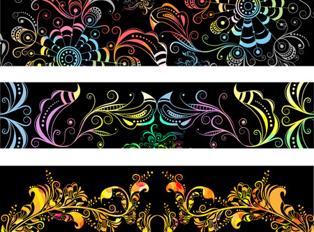 Three banners - illustrations on a black background Vector