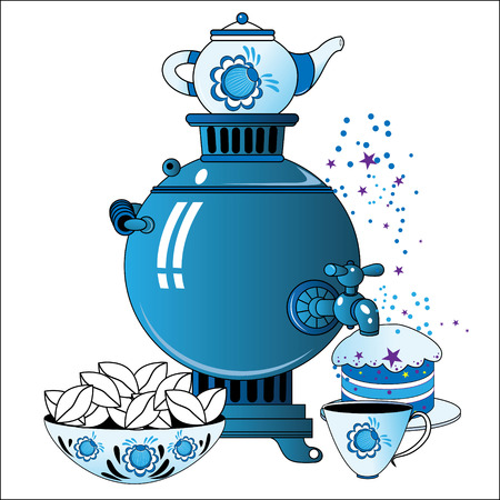 Samovar with tea cup, cake and pies in Russian folk style on a white background Illustration