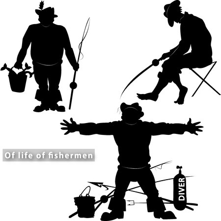 fishing silhouette: Silhouettes of fishermen on a transparent background in different situations