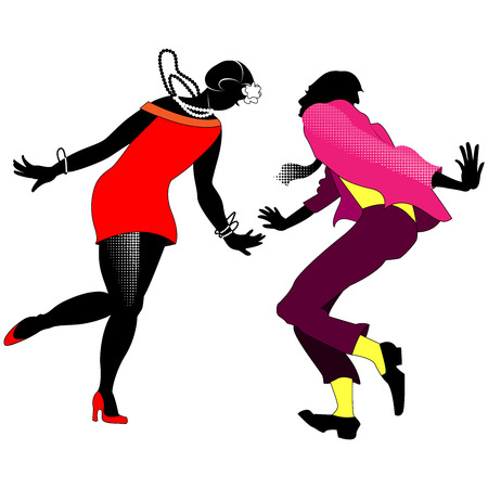 Silhouettes of dancing couples Charleston on a transparent background Vector