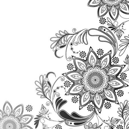 eastern religion: Abstract floral pattern in black and white on the eastern motif on a transparent background