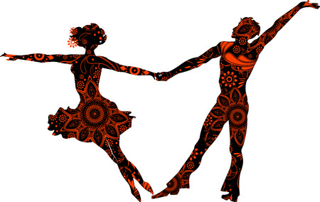 Ballroom couple silhouettes on a transparent background Stock Illustratie