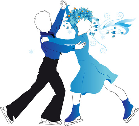 Silhouettes of children ice skating on a transparent background, the girl in blue dress and with stylized hair boy in the blue shirt. Vector