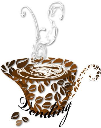 distribution automatique: Stylis�e tasse de caf� avec l'inscription distributeurs et les grains de caf� sur un fond transparent