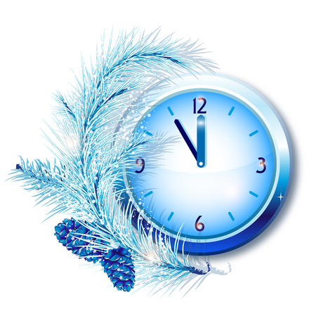 New Year, New Years clock with the branch of fir tree and snow in blue tones