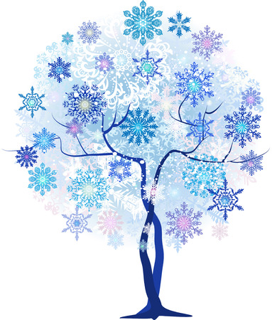 Stylized Christmas tree with snowflakes in shades of blue Vector