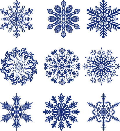 Set of blue snowflakes on a transparent background Vector
