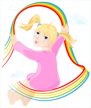 little girl feet: Little girl in pink dress with bare feet on abstract rainbow with clouds Illustration