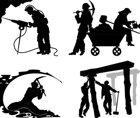 Siluetas de los mineros en diferentes situaciones sobre un fondo transparente Ilustración de vector
