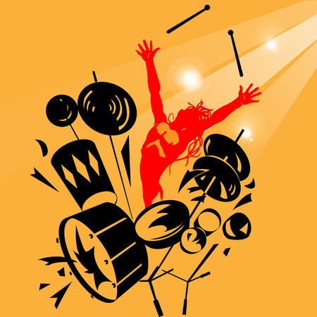An abstract silhouette of a drummer on a colored background Vector