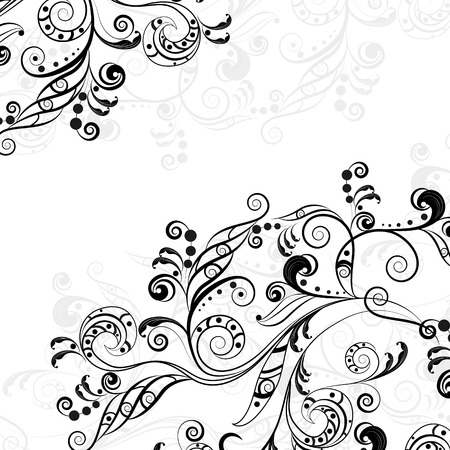 Floral abstract pattern of gray and black on transparent background Vector
