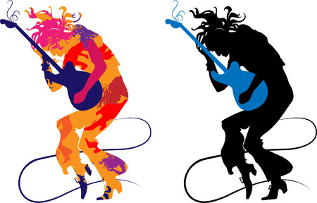 Silhouette abstract guitarist on a transparent background, playing on e-guitar Vector