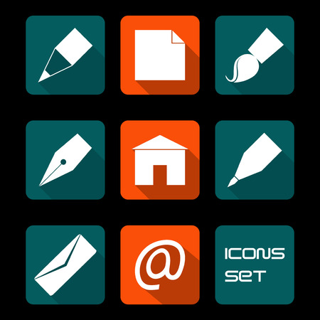 Stationery and art icons in color, set Vector