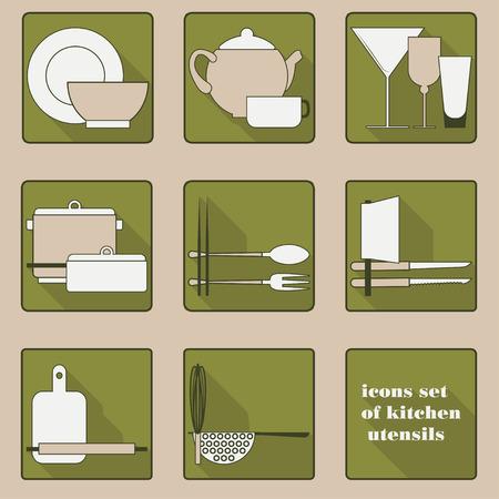 Set of icons of kitchen utensils in green tones Vector