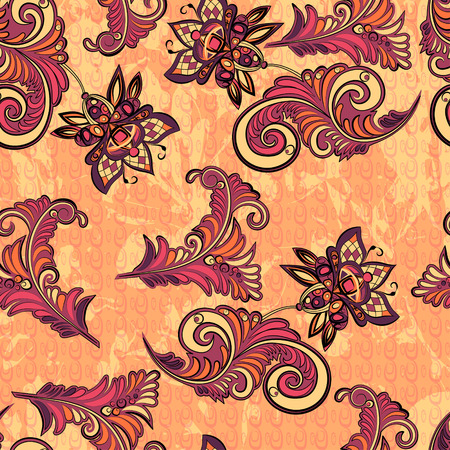Seamless abstract retro pattern with decorative floral elements in warm colors Vector
