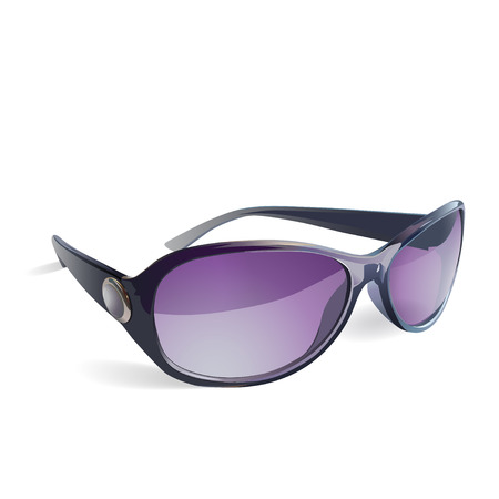 Sunglasses vector isolated with purple glasses and a decorative insert on the side Vector