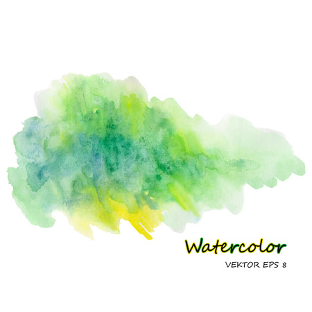 color illustration: Watercolor stain on white background in green tones Illustration