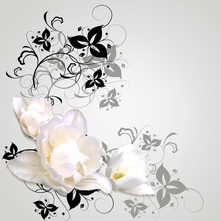 arreglo floral: Centro de flores en colores brillantes con peonías en el fondo de la vegetación abstracta