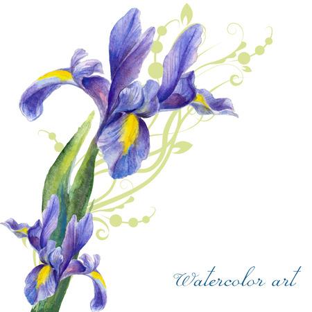 Iris, aquarelle peinte sur un fond de végétation abstraite
