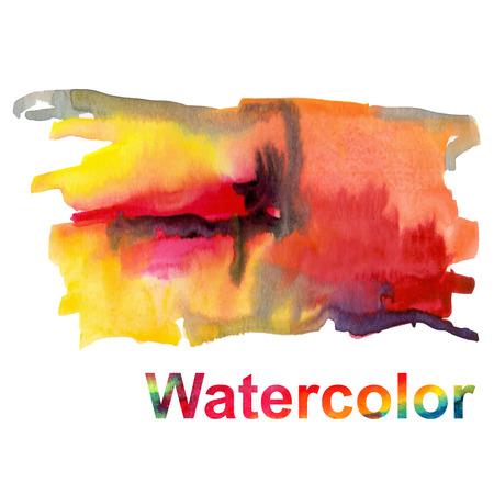 colores calidos: Manchas de acuarela en el fondo blanco en colores cálidos Vectores