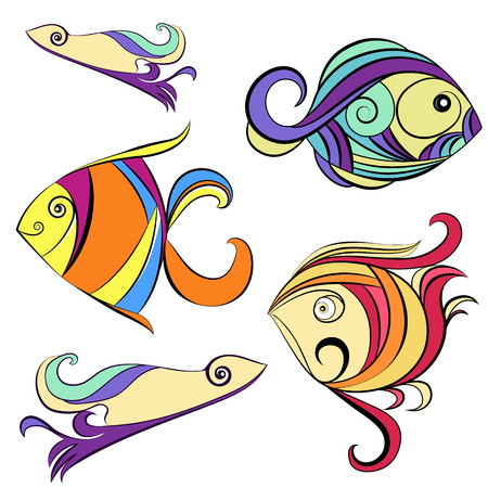 ornamental fish: Ornamental fish on a white background Illustration