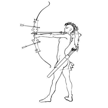 bowstring: Sports archery, silhouette of a girl with a bow and arrow on a white background