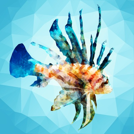 Ornamental fish in the style of polygon graphics