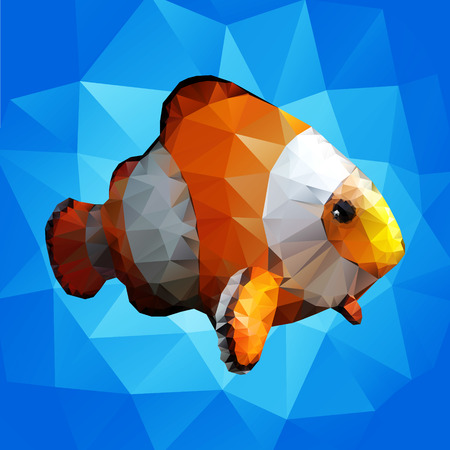 ornamental fish: Ornamental fish in the style of polygon graphics