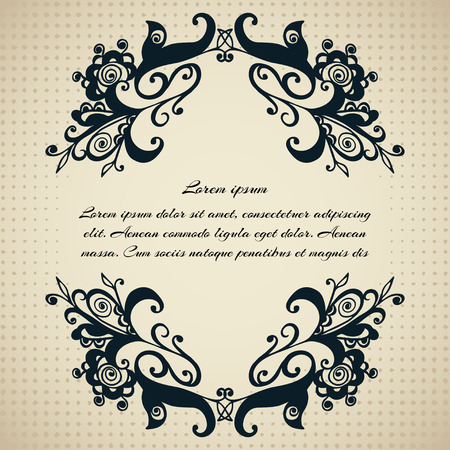 halftones: Decorative frame with abstract elements in black on a beige background with halftones for text