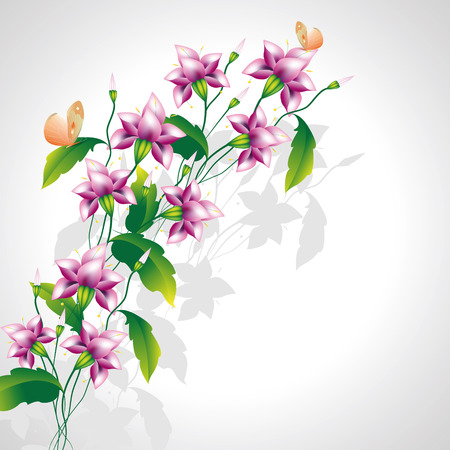 mauve: Background for text with decorative mauve flowers with buds and butterflies on light gray background Illustration
