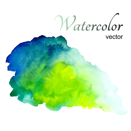 Aquarel vlek op een witte achtergrond in groene tinten