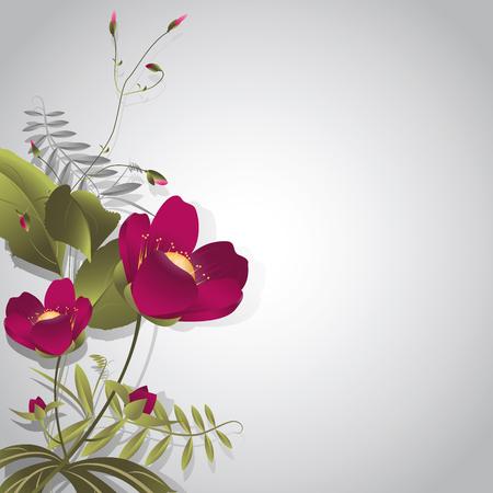 pistil: Decorative bouquet of purple wild flowers on a gray background